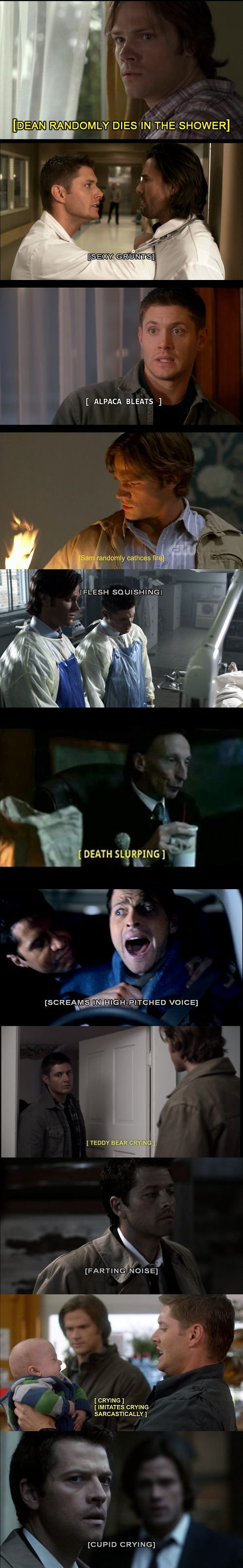 Real Supernatural closed captions. The people who caption SPN must also be fans… (not my caption):
