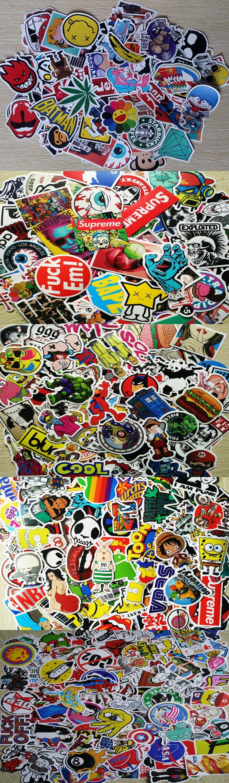 PCSDrop shipping Fashion cool DIY Stickers for Skateboard Laptop Luggage Snowboard Fridge Phone toy Styling home decor Stickers $1.6