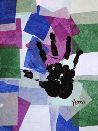 cool colors tissue collage with hand print