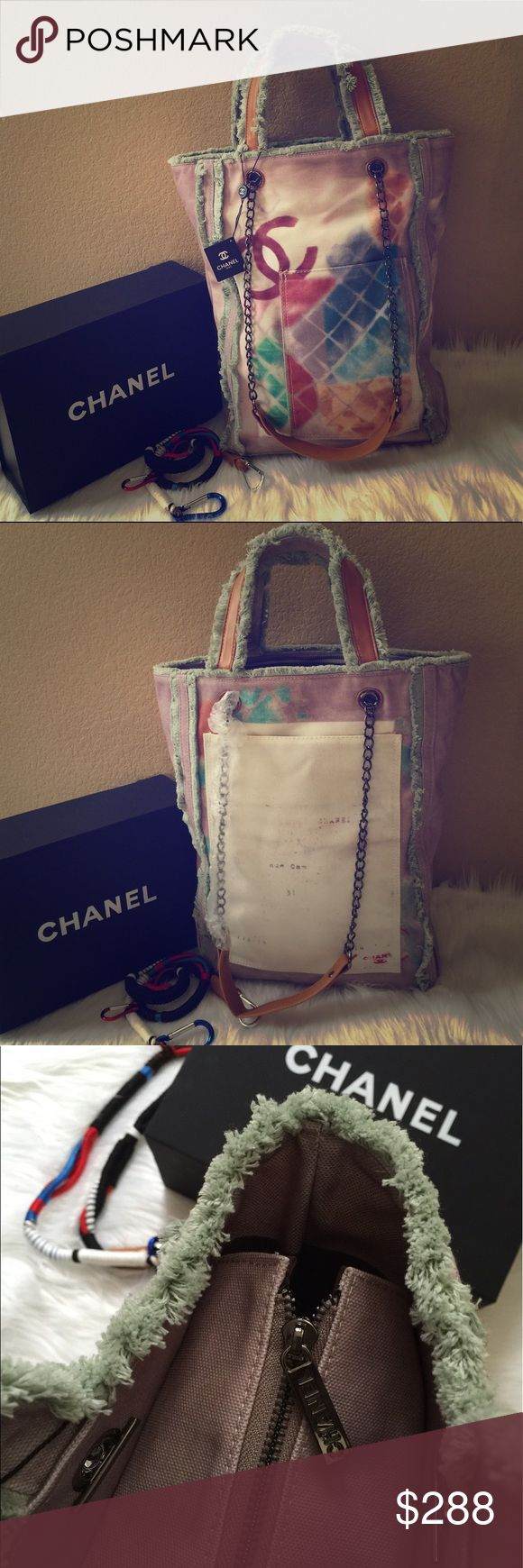 Large canvas tote bag Excellent quality, light gray with green trim, Large size                       16.5x 12.5x 4inches CHANEL Bags Totes