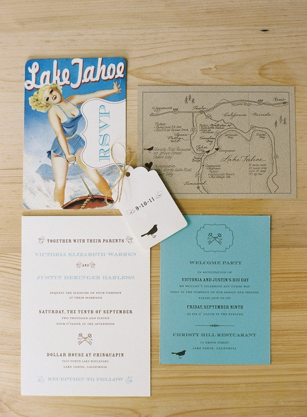 Vintage Lake Tahoe wedding invitation Best 24