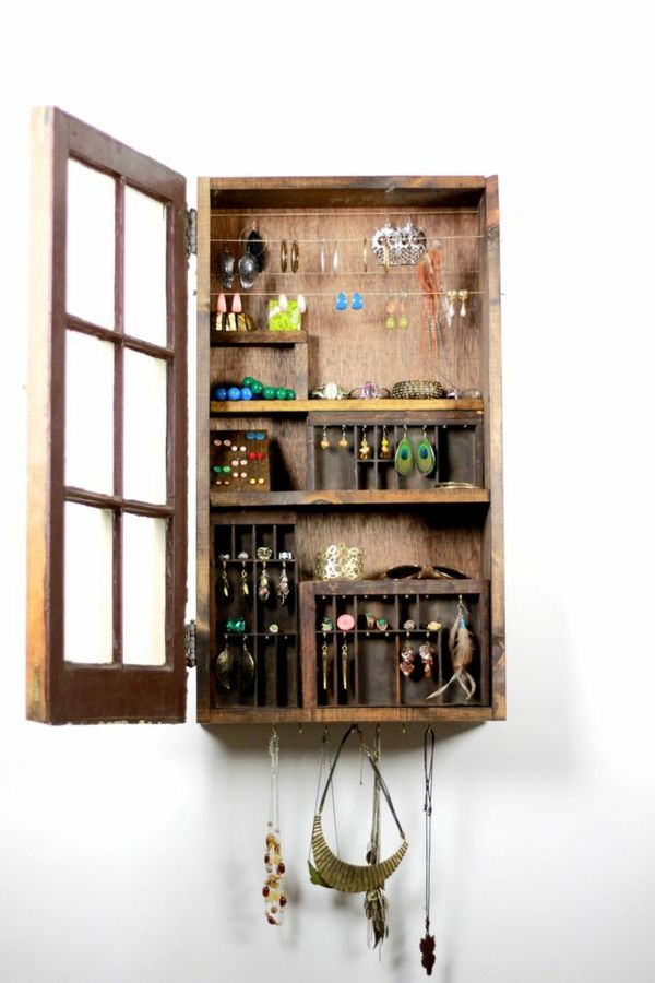 Pallet Wood Jewelry Rack Design wooden pallet jewelry cabinet | DIY ...