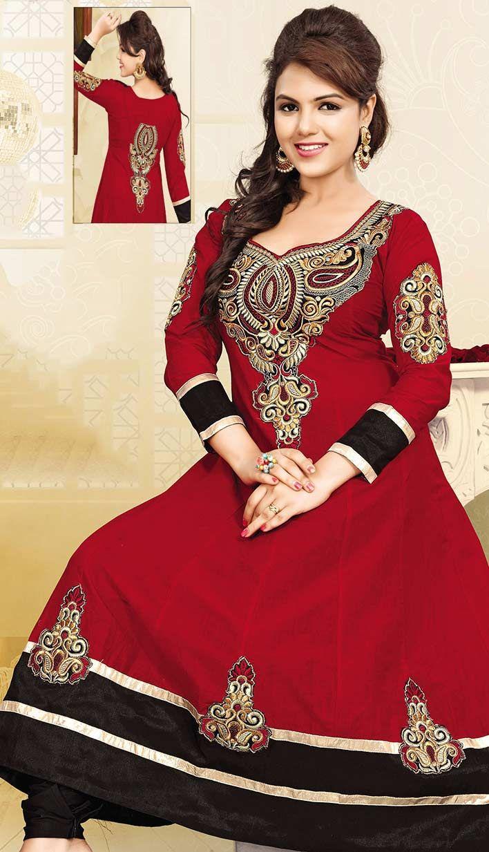 Select the Indian Beautiful Red Cotton Churidar Kameez #AnarkaliDresses Online  #Price INR- 2362 Link- http://alturl.com/paj3p