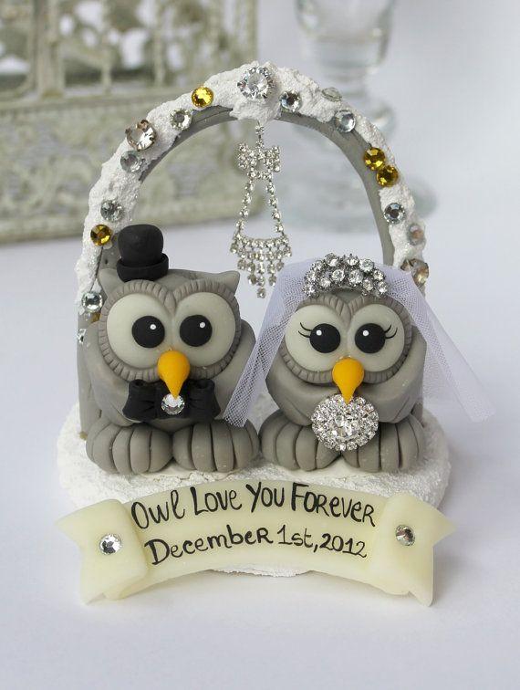 Owl bling cake topper love bird wedding cake by PerlillaPets