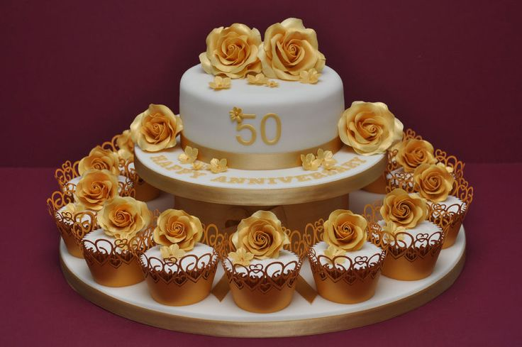 Golden Wedding Anniversary Cake and Cupcakes by Finesse Cakes — Cupcake Challenge 8