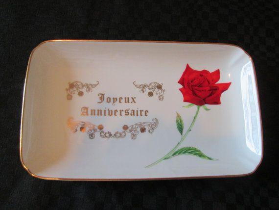 Vintage Assiette/ Plate Joyeux Anniversaire