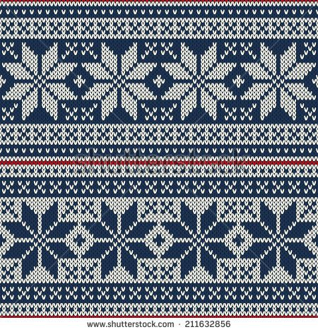 Seamless pattern ornament on the wool knitted texture. Vector illustration - stock vector