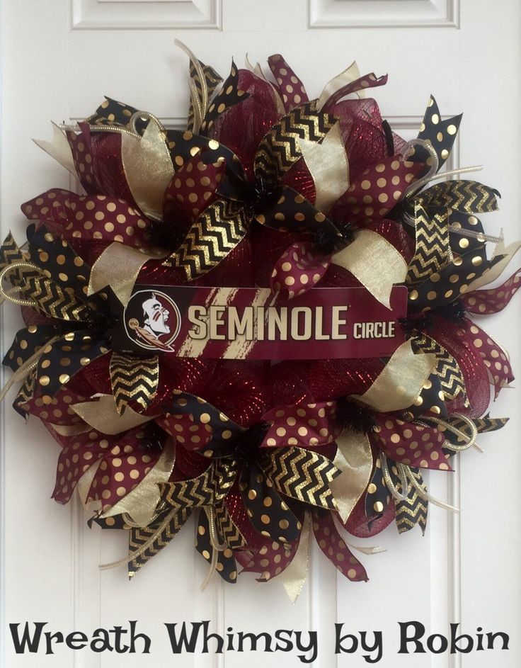 Florida State University Seminoles Garnet, Black and Gold Deco Mesh Sports Wreath, Football Wreath, FSU Decor, Collegiate Wreath by WreathWhimsybyRobin on Etsy
