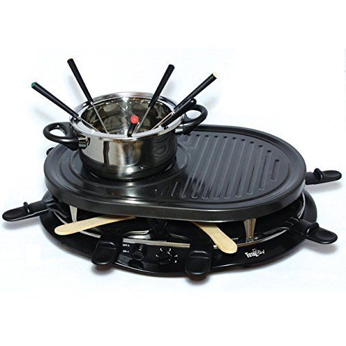 Lagrange Raclette Grill 8 Person Party Non Stick Melting Cheese Glass Cooktop