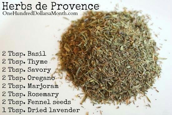 Herbes de Provence can be purchased at specialty food stores, or you can create your own by combining equal parts of four or five of the following dried herbs: marjoram, thyme, rosemary, summer savory, sage, fennel, basil and lavender.