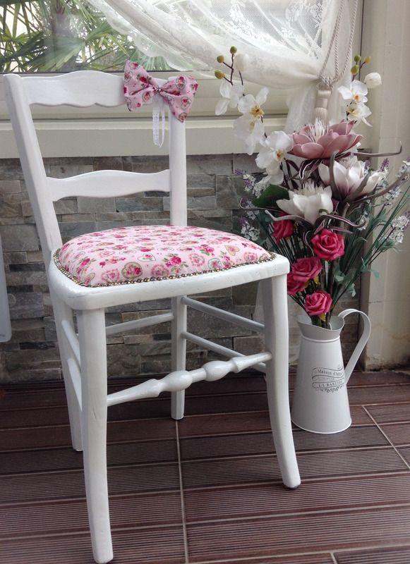 Chaise enfant tissu cœurs et fleurs Shabby Chic - chaises et tabourets - Monautrefois - Fait Maison