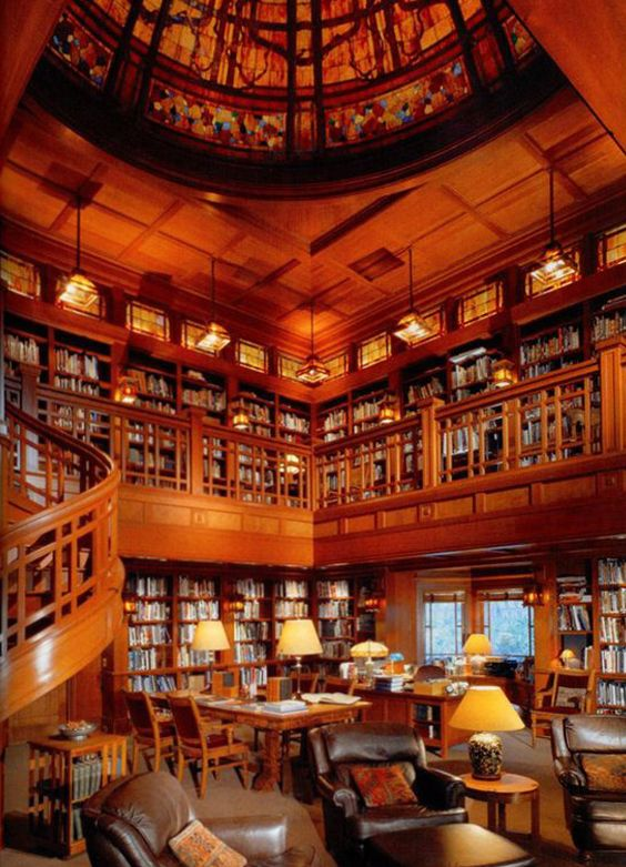 Skywalker Ranch's library is full of beautiful woodwork, geometric patterns reminiscent of Frank Lloyd Wright.