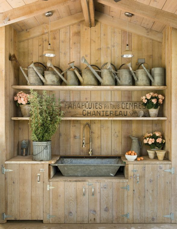 Love this sink although it wouldn't work for my kitchen I still love it.  French Farmhouse Potting Shed