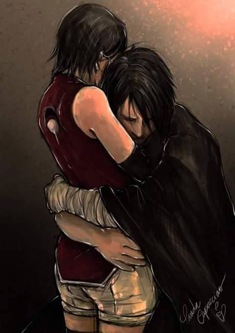 Sasuke and his daughter, Sarada.  It's almost like he's saying sorry for being gone for most of her life. #naruto