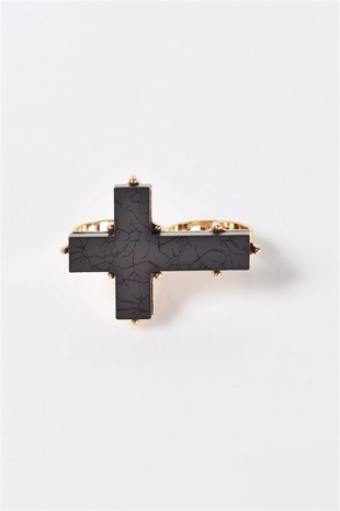 Stone Cold Cross Two Finger Ring - Gold; I'm dying for a