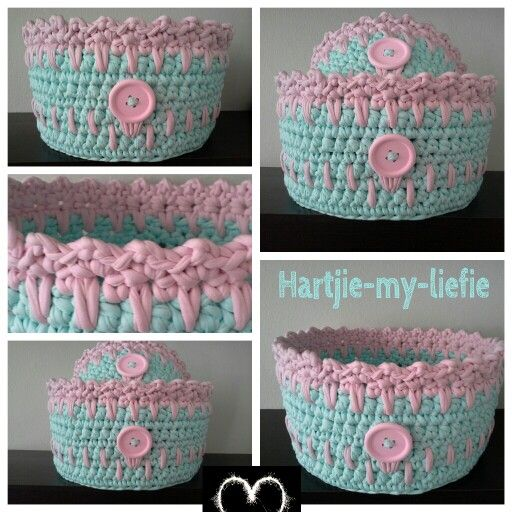 Xs and medium t-yarn basket set. Pale mint and pink.