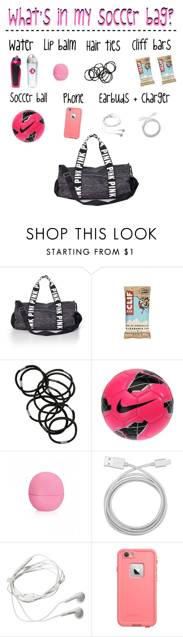 """What's in my soccer bag"" by strawberry-styles ❤ liked on Polyvore featuring Victoria's Secret PINK, Monki, NIKE, Eos, Belkin, Samsung, Tervis and LifeProof"