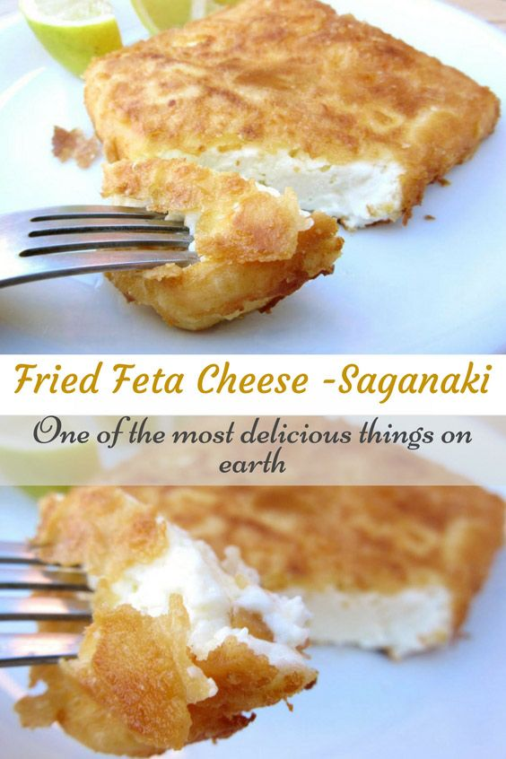 Soft and creamy melt-in-your-mouth feta cheese wrapped in a crispy crust. Saganaki is traditional Greek appetizer that takes only 5 minutes to make and will blow your minds out! #Saganaki, #FetaCheese