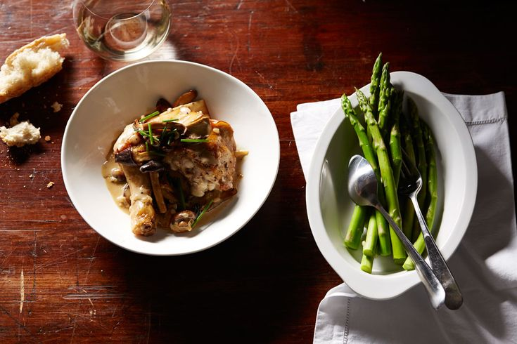 Chicken with Champagne and mushroom sauce (poulet au Champagne et champignons)