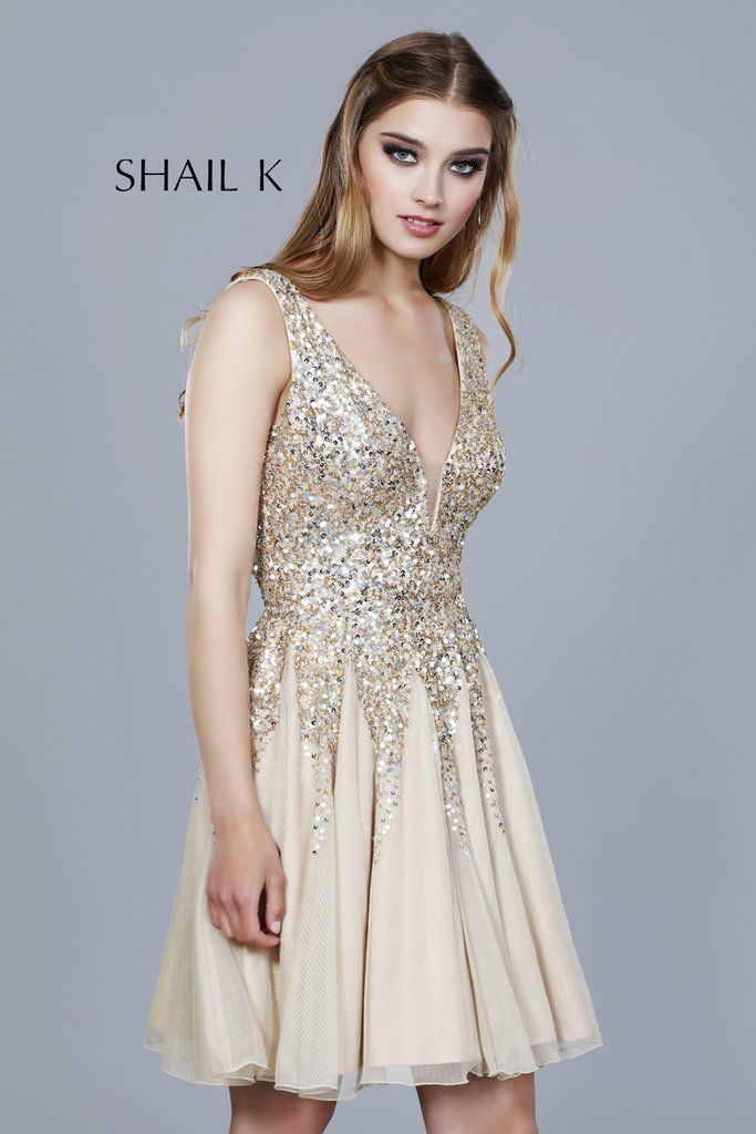 51945be91ce Low Neck Fit To Flare Embellished Homecoming Dress 12182 in 2019 ...