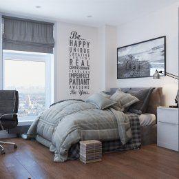 Светлая спальня | Студия LESH (дизайн спальни, комната для молодого человека, кровать большая, маленькая комната, окно,вид из окна)