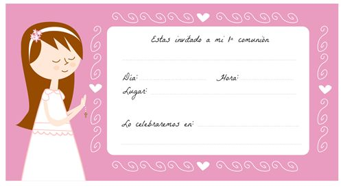 Tarjeta Primera Comunión para imprimir: http://manualidades.euroresidentes.com/2013/04/tarjetas-de-comunion-para-imprimir.html