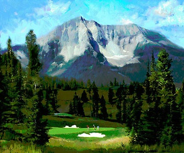 16th Hole - The Reserve at Moonlight Basin - R. Tom Gilleon - World-Wide-Art.com - $195.00