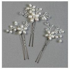 Pearl & Crystal Floral Cluster Hairpins Set of 3 Bridal or Wedding Accessory