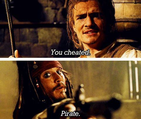 """""""You cheated."""" """"Pirate."""" 〖 Disney Pirates of the Caribbean William Will Turner Captain Jack Sparrow sword gun funny 〗"""