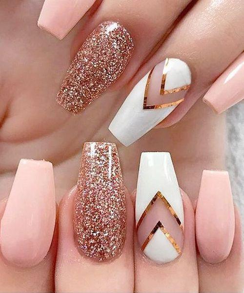 Lovely Rose Gold Glitter Nail Art Designs