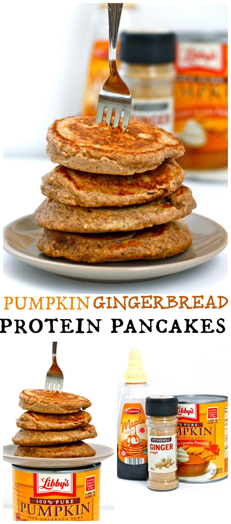 Pumpkin Gingerbread Protein Pancakes - using coconut flour and protein powder. Excellent recipe!!!