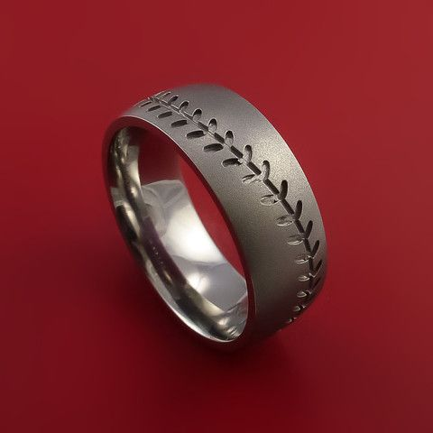Titanium Baseball Ring with Custom Stitching Fan Band Any Size and Color