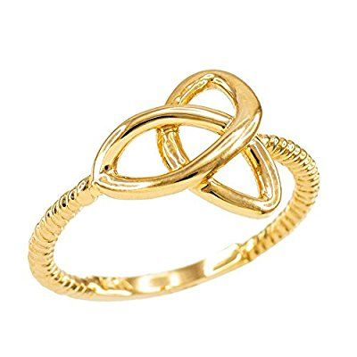 High Polish 10k Yellow Gold Twisted Style Rope Band Trinity Knot Ring
