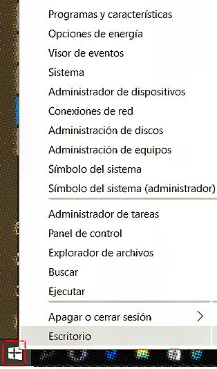 Menú Botón Inicio Windows 10