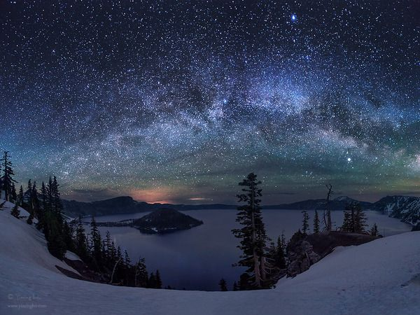 The magnificent Milky Way over Crater Lake, Oregon, the deepest lake of the US and the clearest lake on earth.