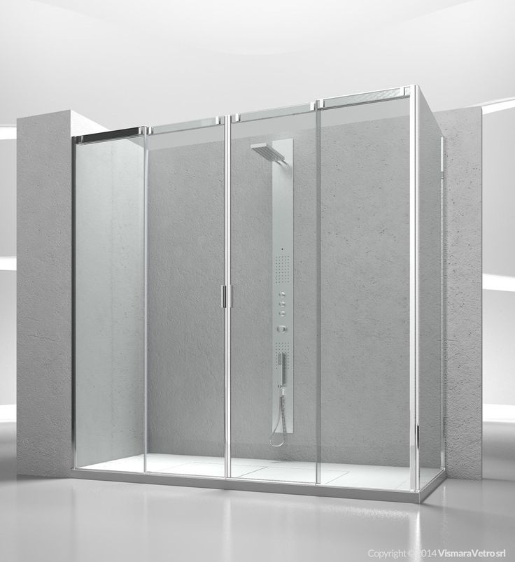 Sliding shower enclosure avec additional fixed panel for corner shower enclosure. Shower enclosures Slide by @vismaravetro | V4+VG