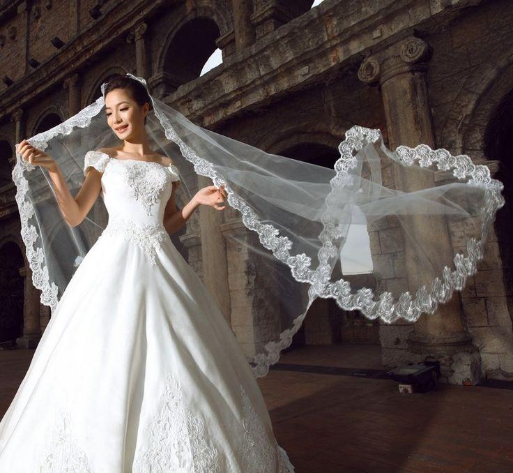 Veli da sposa 2.5 metri Applique Bordo In Pizzo appliques Accessori Da Sposa Lunghi Veli Morbido Tulle Sposa Romantica 2016