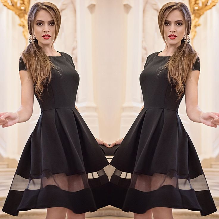 $9.99 - 2015 New Spring Fashion Women Causal Chiffon Dresses Short Sleeve Party A-Line O-neck Lace Patchwork Dress Q0230