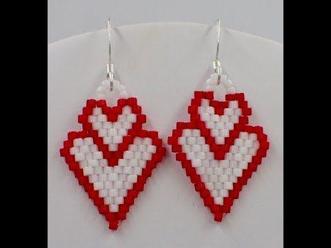 Double Heart Earrings (Brick Stitch)