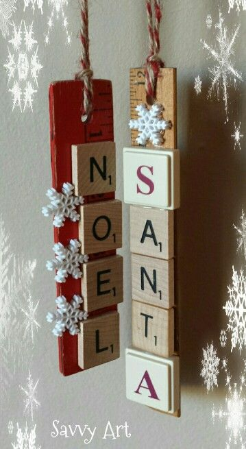 Scrabble tiles, game pieces & a wooden ruler recycled into Christmas ornaments!