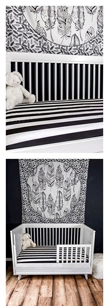 Danha Premium Fitted Cotton Crib Sheet With Black White Stripe Print - Perfect fit for my crib and fun pattern!