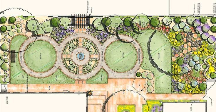 deck and backyard landscape drawing | design drawing of gardens and plantings