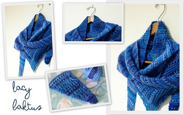 This shawlette was quite a quick and easy knit, from my own handspun too ... I love it!    Lacy Baktus by Terhi Montonen  Yarn | Spunkyarn Handspun {Sportweight}  Colourway | Got-the-Blues