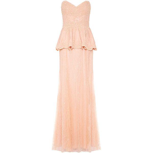 PARIS Pale Peach Fishtail Maxi Dress (2.760 DKK) ❤ liked on Polyvore featuring dresses, gowns, long dresses, maxi dress, prom ball gowns, red gown, prom gowns and long prom dresses