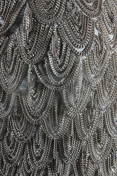 An Alexander McQueen for Givenchy chain-fringed grey crêpe de chine evening…