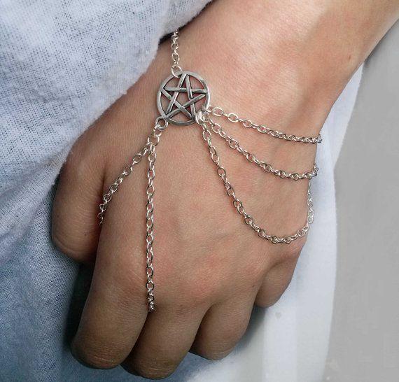 Silver Wiccan Slave Bracelet , Wicca Slave Bracelet , Pentagram Bracelet , Pentacle Bracelet , Wiccan Jewelry