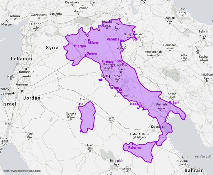 Map comparison size of Italia and Iraq Iraaq Mesopotamia with cities Carte Comparaison de la taille de l' Italie et l' Iraq Mesopotamie - avec villes