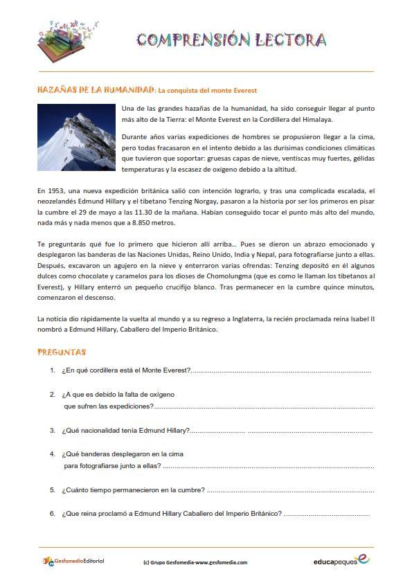 Fichas de compresión lectora para primaria: La conquista del Everest