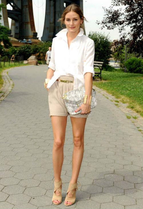 全体を淡い色でまとめた大人の女性コーデ♡ショーパンのコーデ・スタイル・ファッション♪