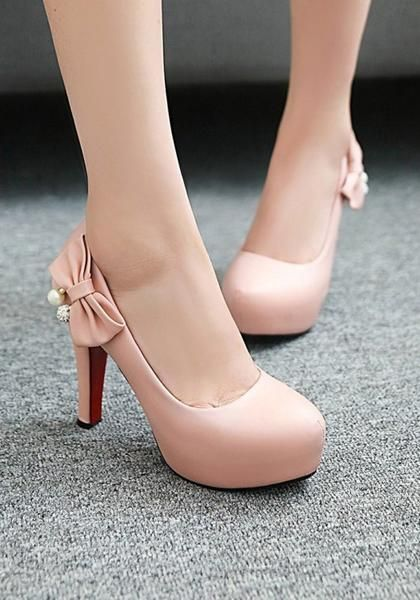 Pink Round Toe Chunky Bow Fashion High-Heeled Shoes